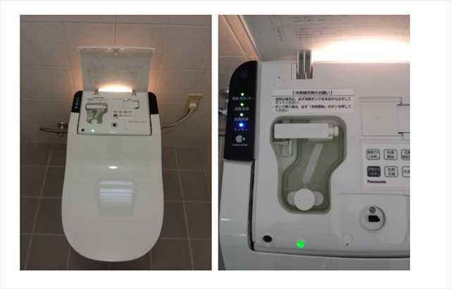 タンクの中に洗剤ポケットがあり、中性洗剤を入れて流すと